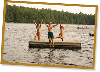 jumping off the floating dock at windsor mountain international camp